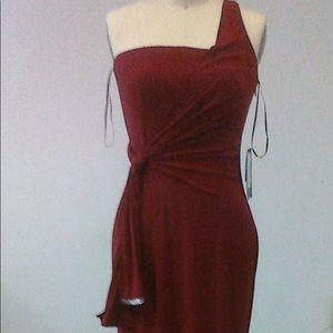 Red long one shoulder dress